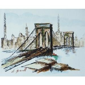 肉筆絵画 油絵 F4号 「ゴールデンゲートブリッジ」-9- 特価|touo