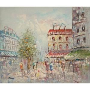 油彩画 洋画 肉筆油絵 F8号 「パリの街風景」-1-|touo