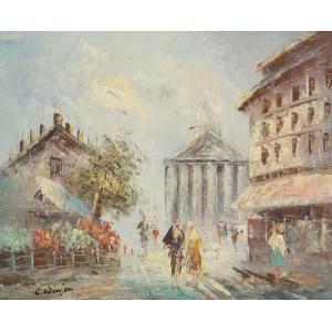 油彩画 洋画 肉筆油絵 F8号 「パリの街風景」-12-|touo