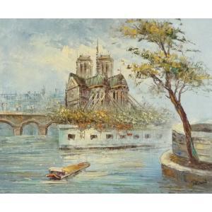油彩画 洋画 肉筆油絵 F8号 「パリの街風景」-16-|touo