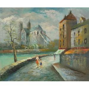油彩画 洋画 肉筆油絵 F8号 「パリの街風景」-17-|touo