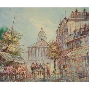 油彩画 洋画 肉筆油絵 F8号 「パリの街風景」-21-|touo