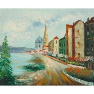 油彩画 洋画 肉筆油絵 F8号 「パリの街風景」-3-|touo