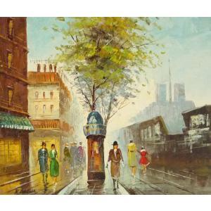 油彩画 洋画 肉筆油絵 F8号 「パリの街風景」-9-|touo