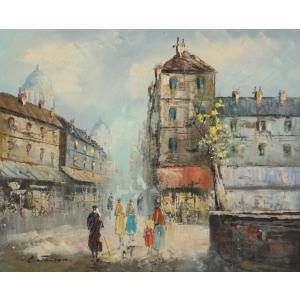 油彩画 洋画 肉筆油絵 F8号 「パリの街風景」-32-|touo