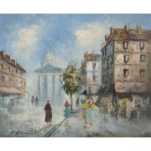 油彩画 洋画 肉筆油絵 F8号 「パリの街風景」-33-|touo