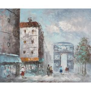 油彩画 洋画 肉筆油絵 F8号 「パリの街風景」-35-|touo