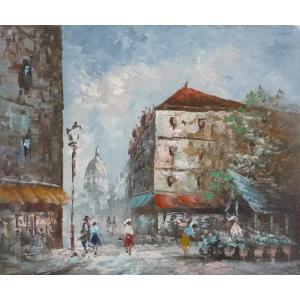 油彩画 洋画 肉筆油絵 F8号 「パリの街風景」-36-|touo