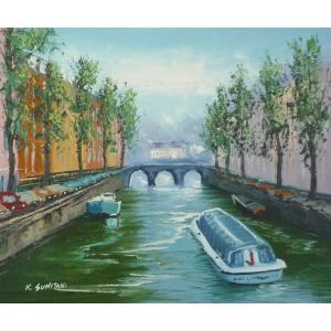 油彩画 洋画 肉筆油絵 F8号 「パリの街風景」-38-|touo
