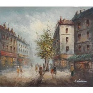 油彩画 洋画 肉筆油絵 F8号 「パリの街風景」-40-|touo