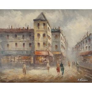 油彩画 洋画 肉筆油絵 F8号 「パリの街風景」-24-|touo