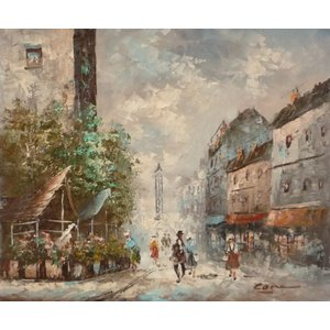 油彩画 洋画 肉筆油絵 F8号 「パリの街風景」-25-|touo