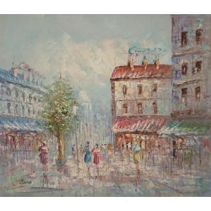 油彩画 洋画 肉筆油絵 F8号 「パリの街風景」-28-|touo