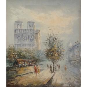 油彩画 洋画 肉筆油絵 F8号 「パリの街風景」-50-|touo