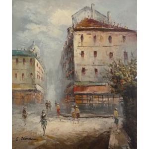 油彩画 洋画 肉筆油絵 F8号 「パリの街風景」-51-|touo