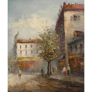 油彩画 洋画 肉筆油絵 F8号 「パリの街風景」-53-|touo