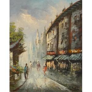 油彩画 洋画 肉筆油絵 F8号 「パリの街風景」-54-|touo