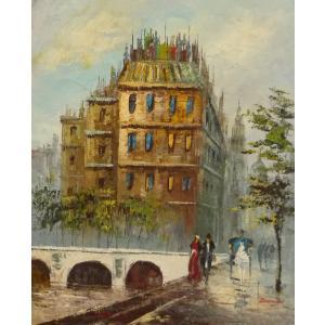 油彩画 洋画 肉筆油絵 F8号 「パリの街風景」-56-|touo