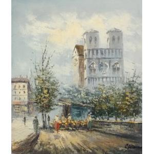 油彩画 洋画 肉筆油絵 F8号 「パリの街風景」-58-|touo