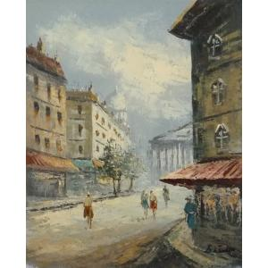 油彩画 洋画 肉筆油絵 F8号 「パリの街風景」-59-|touo