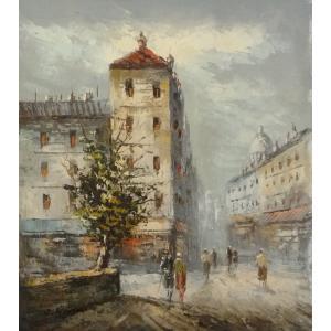 油彩画 洋画 肉筆油絵 F8号 「パリの街風景」-60-|touo