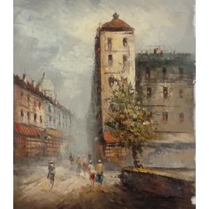 油彩画 洋画 肉筆油絵 F8号 「パリの街風景」-61-|touo