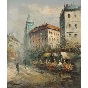 油彩画 洋画 肉筆油絵 F8号 「パリの街風景」-45-|touo