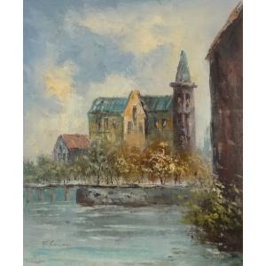 油彩画 洋画 肉筆油絵 F8号 「パリの街風景」-46-|touo