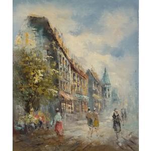 油彩画 洋画 肉筆油絵 F8号 「パリの街風景」-47-|touo