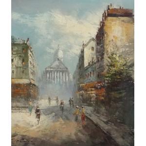 油彩画 洋画 肉筆油絵 F8号 「パリの街風景」-48-|touo
