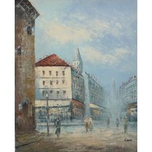 油彩画 洋画 肉筆油絵 F8号 「パリの街風景」-49-|touo