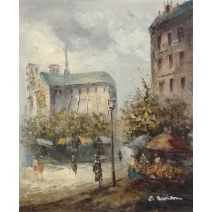 油彩画 洋画 肉筆油絵 F8号 「パリの街風景」-62-|touo
