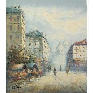 油彩画 洋画 肉筆油絵 F8号 「パリの街風景」-64-|touo