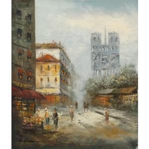 油彩画 洋画 肉筆油絵 F8号 「パリの街風景」-65-|touo