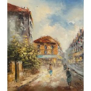油彩画 洋画 肉筆油絵 F8号 「パリの街風景」-66-|touo