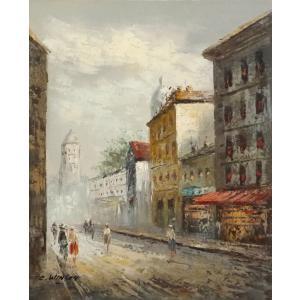 油彩画 洋画 肉筆油絵 F8号 「パリの街風景」-69-|touo