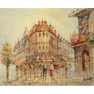 油彩画 洋画 肉筆油絵 F8号 「パリの街風景」-71-|touo