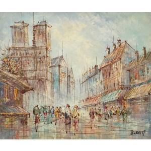 油彩画 洋画 肉筆油絵 F8号 「パリの街風景」-80-|touo