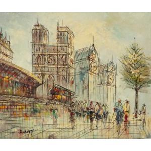 油彩画 洋画 肉筆油絵 F8号 「パリの街風景」-72-|touo