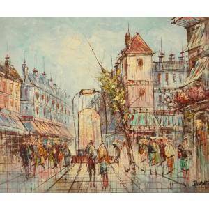 油彩画 洋画 肉筆油絵 F8号 「パリの街風景」-73-|touo