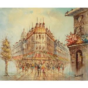 油彩画 洋画 肉筆油絵 F8号 「パリの街風景」-75-|touo