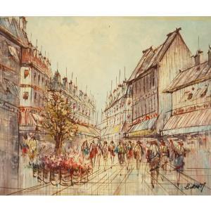 油彩画 洋画 肉筆油絵 F8号 「パリの街風景」-76-|touo