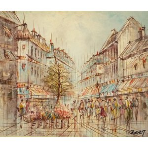 油彩画 洋画 肉筆油絵 F8号 「パリの街風景」-77-|touo