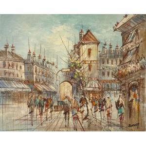 油彩画 洋画 肉筆油絵 F8号 「パリの街風景」-78-|touo