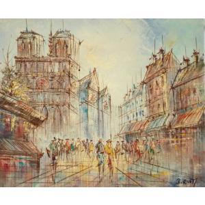 油彩画 洋画 肉筆油絵 F8号 「パリの街風景」-79-|touo