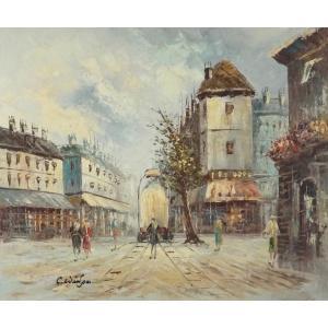 油彩画 洋画 肉筆油絵 F8号 「パリの街風景」-90-|touo