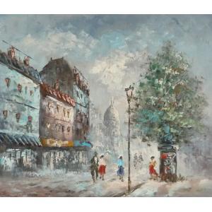 油彩画 洋画 肉筆油絵 F8号 「パリの街風景」-92-|touo