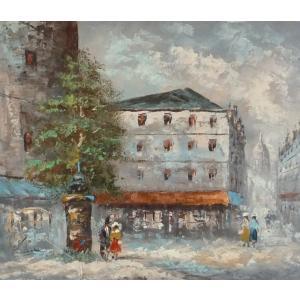 油彩画 洋画 肉筆油絵 F8号 「パリの街風景」-93-|touo