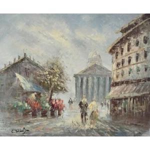 油彩画 洋画 肉筆油絵 F8号 「パリの街風景」-95-|touo