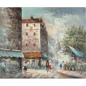 油彩画 洋画 肉筆油絵 F8号 「パリの街風景」-96-|touo